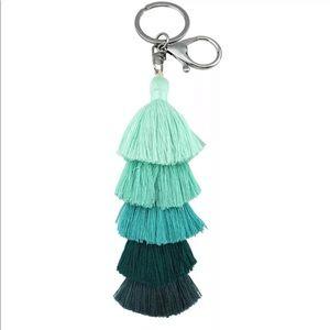 Mint green tassel keychain turquoise gradient
